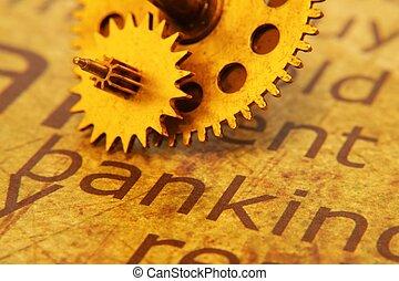 antigas, engrenagem, ligado, operação bancária, texto