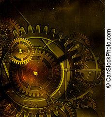 antigas, engrenagem, steampunk, mecanismo, pa, fundo, ...
