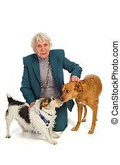 antigas, envelhecido, mulher, com, animais estimação