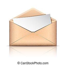 antigas, envelope, com, em branco, papel