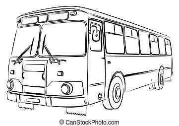 antigas, esboço, bus., grande