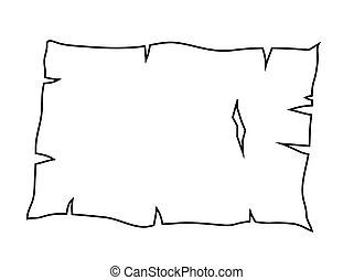 antigas, esboço, papel, símbolo, vetorial, silueta, queimado, ícone, pergaminho, design.