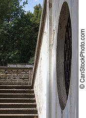 antigas, escadaria, impedido, janela, castelo, redondo