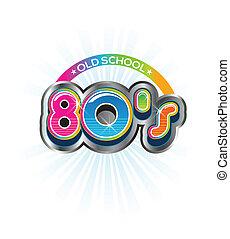 antigas, escola, 80s, vindima, logotipo