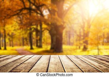 antigas, escrivaninha madeira, topo, com, dourado, folhas