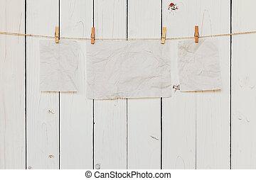 antigas, espaço, penduradas, text., papel, madeira, fundo, em branco, branca