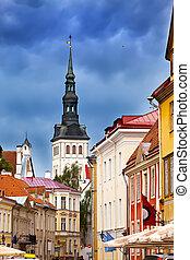 antigas, estónia, cidade, st., igreja, (niguliste)., tallinn, nicholas', vista