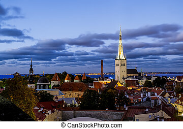 antigas, estónia, st., pôr do sol, tallinn, catedral, olaf, vista