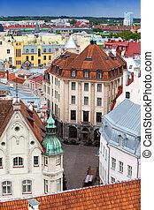 antigas, estónia, telhados, city's, tallinn., vista