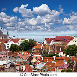antigas, estonia., city's, roofs., tallinn., vista