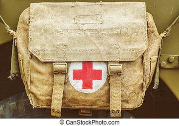 antigas, exército, símbolo, crucifixos, saco, ajuda, médico, vermelho