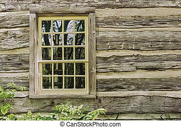 antigas, fazenda, casa, parede, Janela, madeira