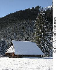 antigas, fazenda, montanhas, em, inverno