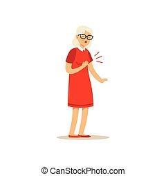 antigas, femininas, personagem, dor tórax, colorido, vetorial, toon, cute, ilustração