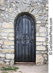 antigas, ferro, textura, paredes, portas, forjado