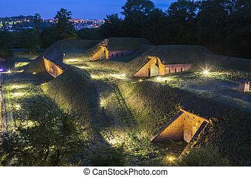 antigas, fortificações, em, gdansk, visto, à noite