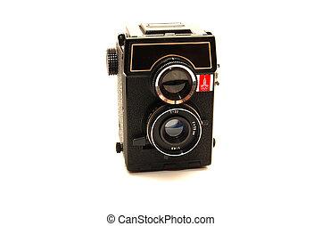 antigas, foto, sobre, isolado, câmera, fundo, branca