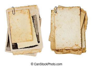 antigas, fotografias, grupo, isolado, como, um, fundo, para,...
