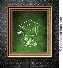 antigas, frame madeira, boné, diploma, graduação, chalkboard