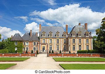 antigas, francês, nobreza, mansão, com, bonito, jardim, e,...