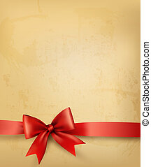 antigas, fundo, com, arco vermelho, e, ribbon., vetorial