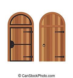 antigas, fundo, ilustração, madeira, isolado, porta, ...