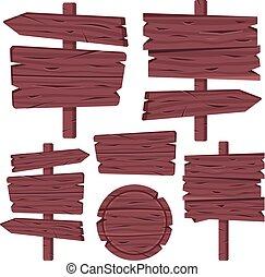 antigas, fundo, modernos, sinal, arrows., planks., set., isolado, madeira, signboards, branca, marrom, placas, ilustração, em branco, pratos, placas, madeira, collection., vetorial, signposts, bandeiras