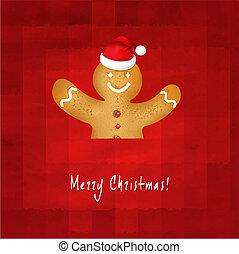 antigas, fundo, santa, gingerbread, chapéu, vermelho, homem