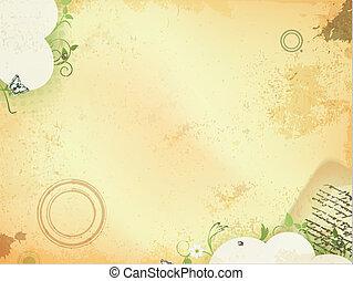 antigas, fundo, vindima, folhas, verde, letra