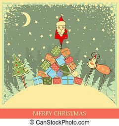 antigas, fundo, vindima, santa, cartão natal