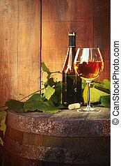 antigas, garrafa copo, branca, barril, vinho
