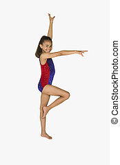 antigas, ginástica, ano, 8, menina, poses