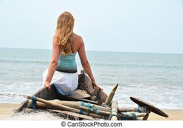 antigas, goa, sentando, pesca, menina, praia, rajbag, sul, boat.