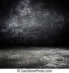 antigas, grunge, assustador, sala, com, concreto, textura