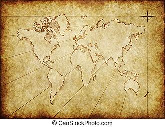 antigas, grungy, mapa mundial, ligado, papel