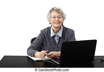 antigas, haired, cinzento, falando, skype, senhora