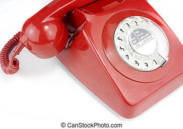 antigas, handset, telefone, luminoso, formado, vermelho