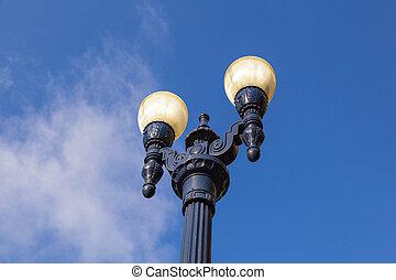 antigas, histórico, lanterna, em, a, gaslamp, quarto, em, san diego