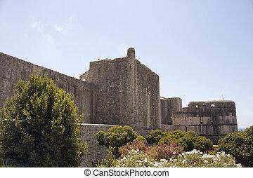 antigas, histórico, paredes, de, dubrovnik, antigas, town., aquilo, é, um, cidade, em, sulista, croácia, fronting, a, adriático, sea.