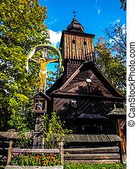 antigas, igreja madeira, em, roznov, museu