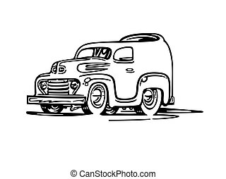 antigas, illustration., cartoon., vetorial, furgão, caricatura