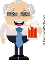 antigas, ilustração, cerveja, experiência., vetorial, branca, homem