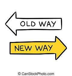 antigas, ilustração, mão, maneira, desenhado, conceitual, novo, representando