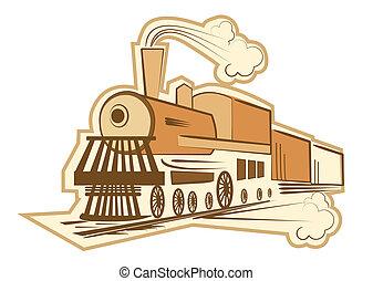 antigas, ilustração, vapor, vetorial, engine., locomotiva