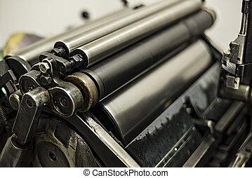 antigas, imprimindo, máquina