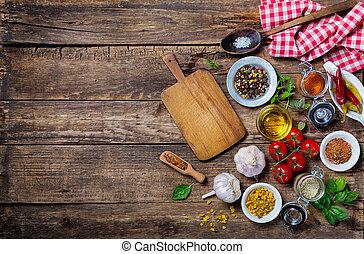 antigas, ingredientes, madeira, cozinhar, tábua cortante,...