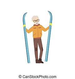 antigas, inverno, esquis, ilustração, esportes, segurando, homem