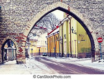 antigas, inverno, estónia, dia, rua, tallinn