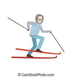 antigas, inverno, ilustração, esportes, esquiando, homem
