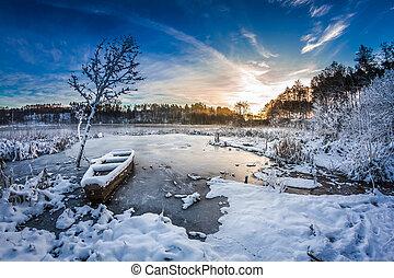 antigas, inverno, neve, lago, coberto, bote